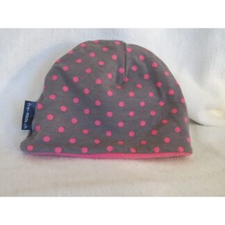 Mütze grau mit rosa Punkten