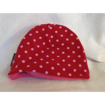 Mütze rot mit rosa Punkten