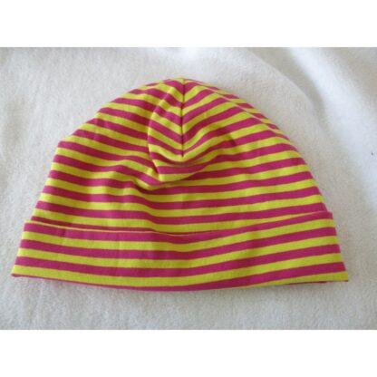 Baby/Kindermütze gelb/pink gestreift
