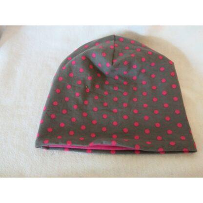 Baby/Kindermütze grau mit rosa Punkten