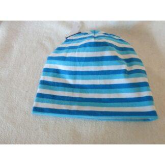 Baby/Kindermütze blau- türkis gestreift