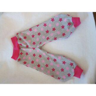 Sternenhose grau meliert pink/rosa Sterne Gr. 80