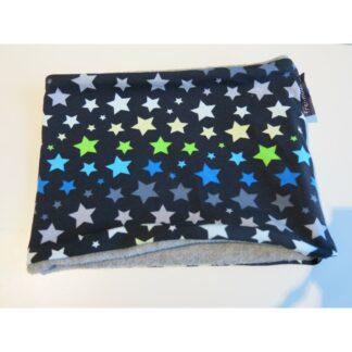Loopschal dunkelblau mit blau grünen grauen weissen Sternen