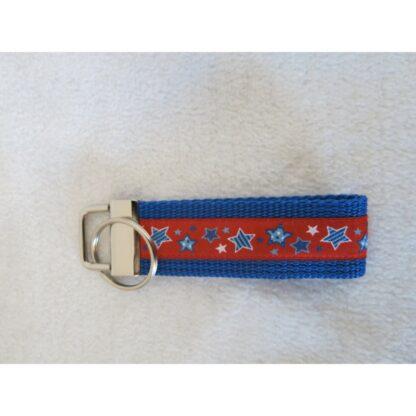 Schlüsselanhänger Sterne blau/rot