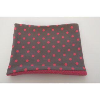 Loopschal grau mit rosa Punkten