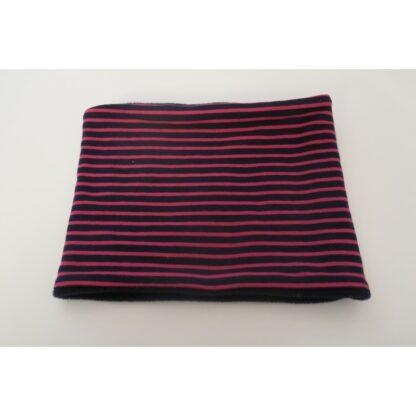 Loopschal dunkelblau pink gestreift
