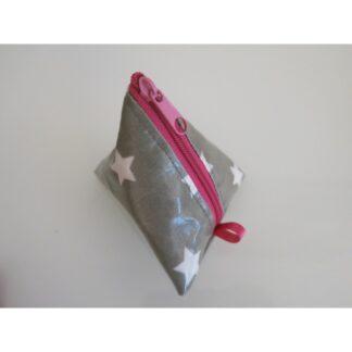 Nuggitäschli, Pyramidentasche grau pink