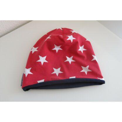 Kindermütze Sterne rot