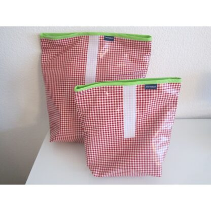 Lunchbag pepita red klein