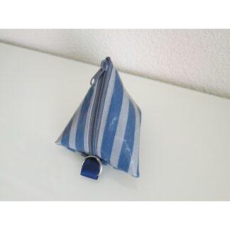 Nuggitäschli, Pyramidentasche blau grau gestreift