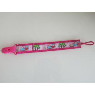 Nuggi-/Spielzeugband Eulen pink