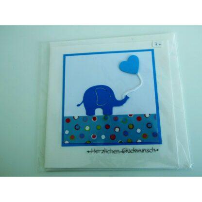 Elefantenkarte blau