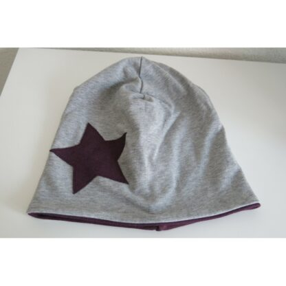 Mütze Stern aubergine