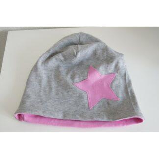 Mütze Stern grau/rosa