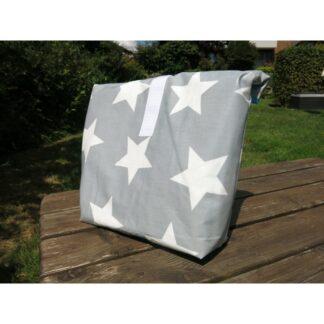 Lunchbag XL grau mit grossen Sternen