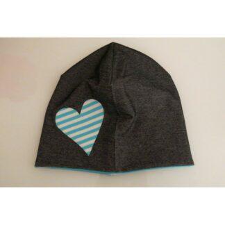Mütze Herzli auf jeansoptik schwarz