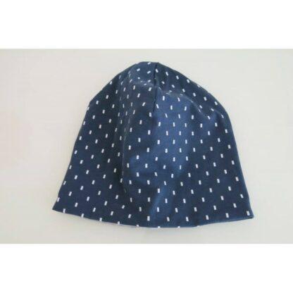 Mütze Punkte jeansblau auf dunkelblau