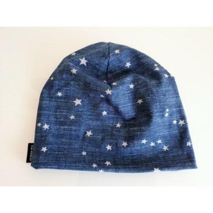 Baby/Kindermütze jeansblau mit grauen Sternen